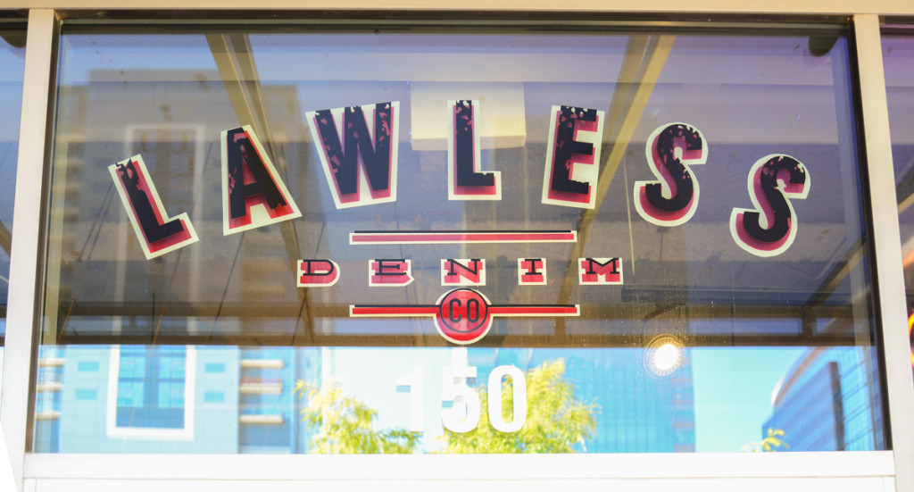 Lawless Denim Window Sign