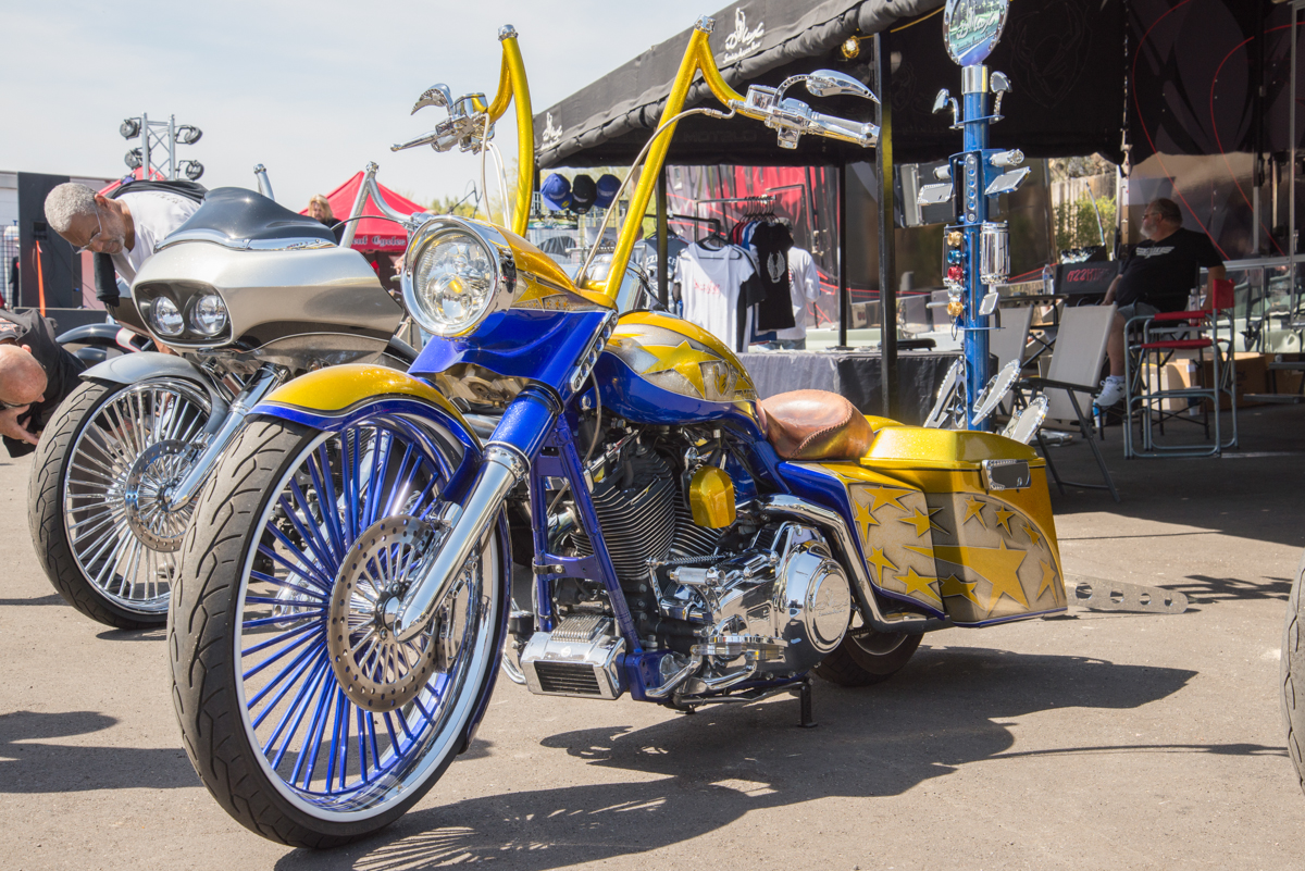 Exotic Gold & Blue Motorcycle
